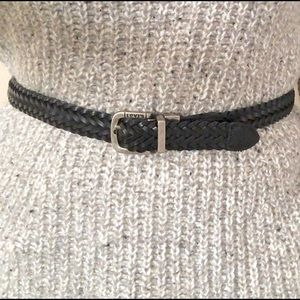 Levi's Braided Black Leather Belt Size X-Small-Med